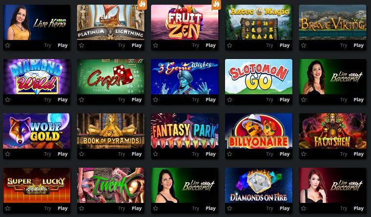 oshi bitcoin casino games
